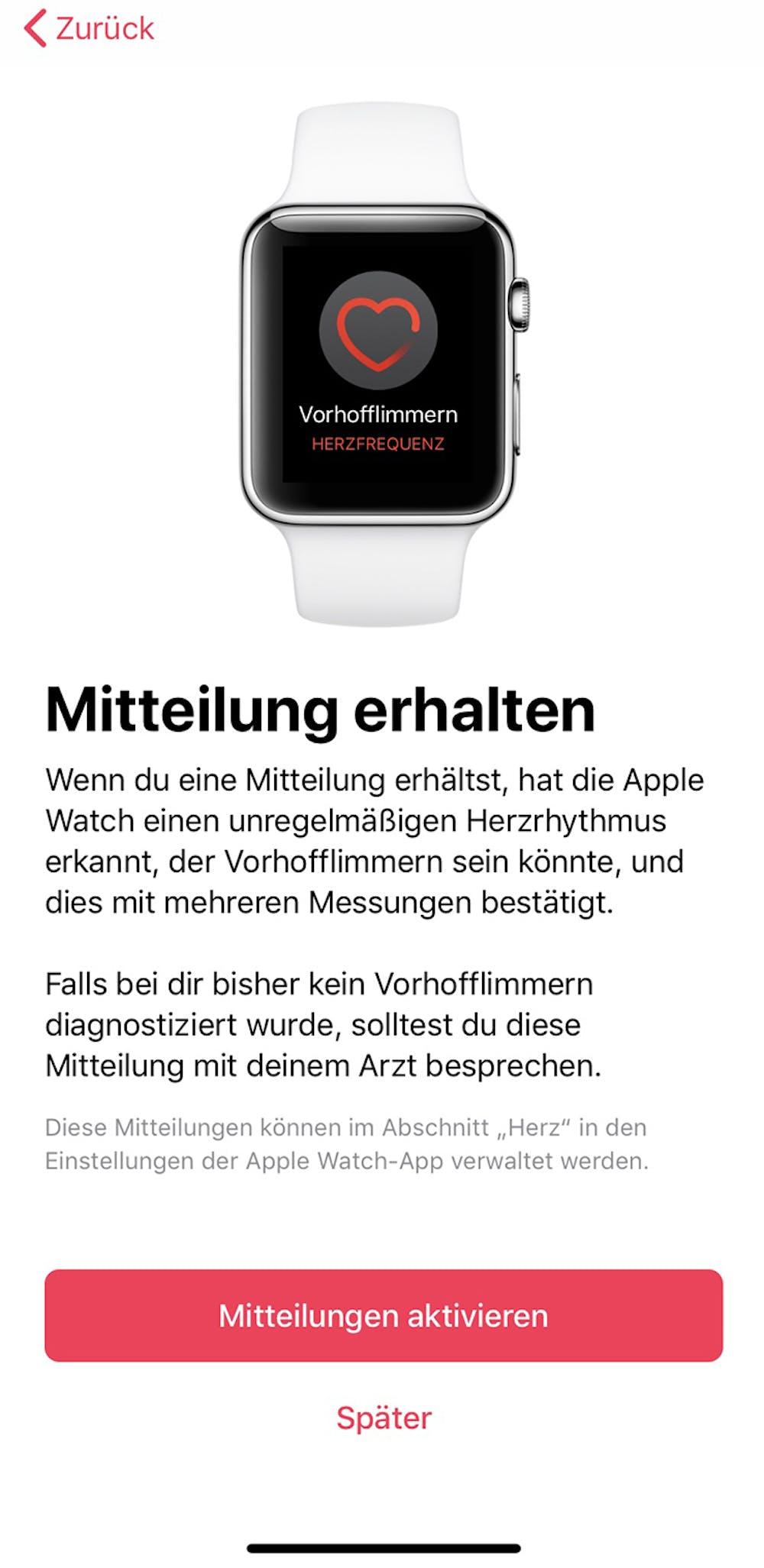 Die EKG-App der Apple Watch Series 4. (Screenshot: Apple)
