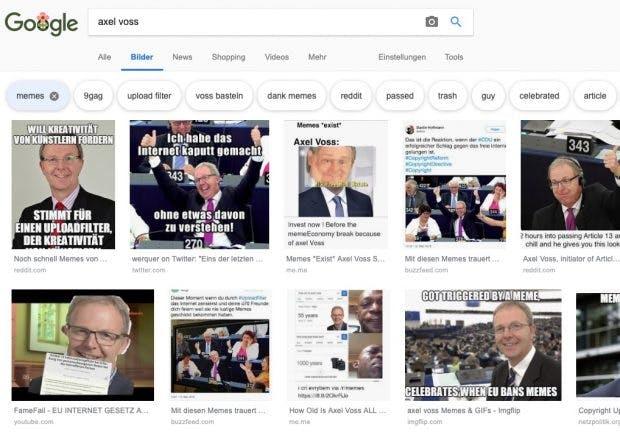 Axel Voss Memes in der Google-Suche