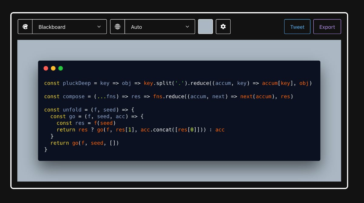 Code mit Stil: So sieht der Online-Editor von Carbon aus. (Screenshot: t3n)