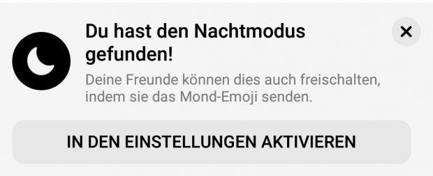 Facebook Messenger: Nach dem Versand des Halbmond-Emojis könnt ihr den Nachtmodus aktiveren. (Screenshot: Messenger / t3n)