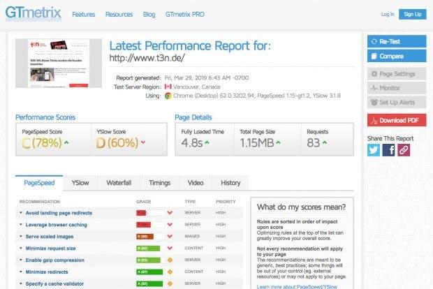 GTmetrix vereint verschiedene Bewertungssysteme für die Geschwindigkeit von Websites und verfügt über ein mächtiges Filterwerkzeug. (Screenshot: GTmetrix / t3n)