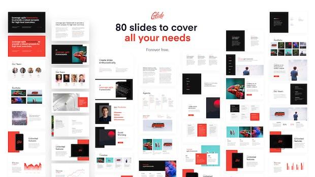 Glide umfasst 80 Powerpoint-Folien für verschiedene Zwecke. (Grafik: Slidor)
