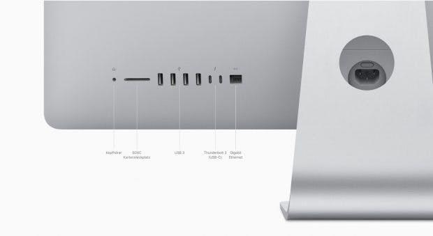 Ales beim Alten: Die rückseitigen Anschlüsse des neuen iMac (2019). (Screenshot: t3n; Apple))