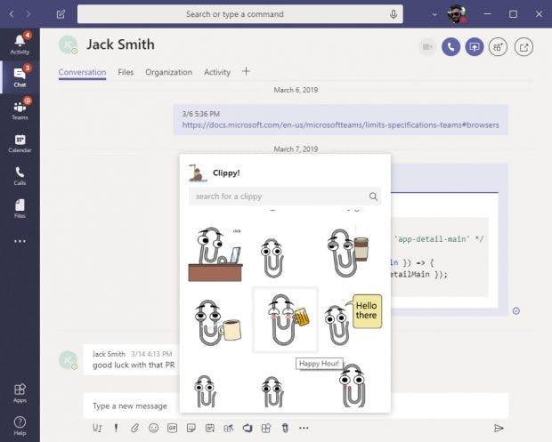 Karl Klammer ist zurück: Als App für Microsoft Teams. (Screenshot: Microsoft)