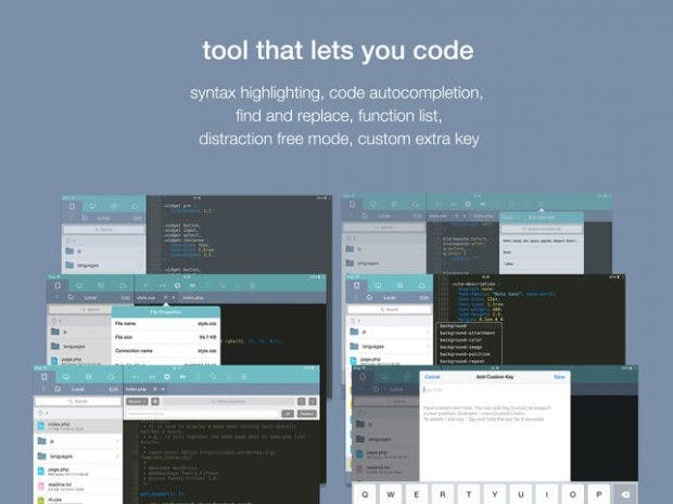 Koder is a free code editor for iOS.  (Graphic: RemuzLab)