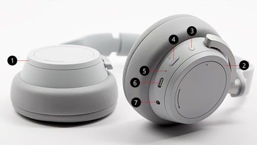 Die Bedienelemente und Anschlüsse der Surface Headphones im Überblick: 1. Linke Drehsteuerung; 2. Rechte Drehsteuerung; 3. Powerbutton; 4. Stumm-Taste; 5. LED; 6. USB-C-Anschluss; 7. 3,5-mm-Anschluss (Bild: Microsoft)