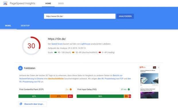 Website-Geschwindigkeit mit PageSpeed Insight von Google messen: Der Klassiker wurde über die Jahre immer wieder aufgebohrt. (Screenshot: Google / t3n)