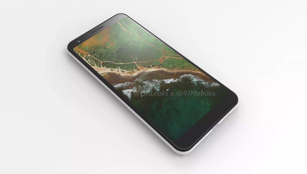 So soll das Google Pixel 3a XL aussehen. (Renderbild: 91 Mobiles)