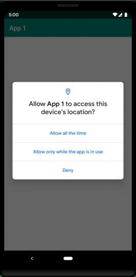 Die neue Standort-Abfrage in der ersten Android Q Beta fragt auch nach dem Zugriff im Hintergrund-Betrieb. (Grafik: Google)