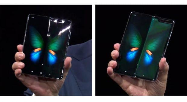 Foldables: Auf dem Foto ist zu erkennen, dass sich auch das Display von Samsungs Galaxy Fold leicht wölbt. (Foto: via the Verge)