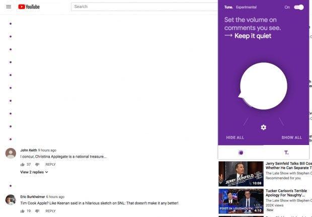 KI filtert toxische Kommentare aus: Je nach Reglereinstellung bleibt bei Youtube nicht viel übrig. (Screenshot: Youtube/Tune/t3n)
