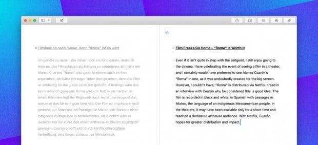 Auf macOS gibt es mit Ulysses 15 jetzt einen Split-View, um an zwei Texten parallel zu arbeiten. (Bild: Ulysses)