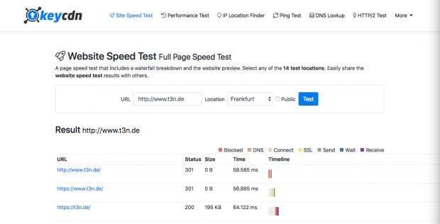 Der Site Speed Test von Keycdn ist eine weitere Möglichkeit, um die Geschwindigkeit eurer Website zu messen. (Screenshot: Keycdn / t3n)