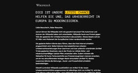 Aus Protest: Die deutschsprachige Wikipedia bleibt heute offline. (Screenshot: Wikipedia/t3n)