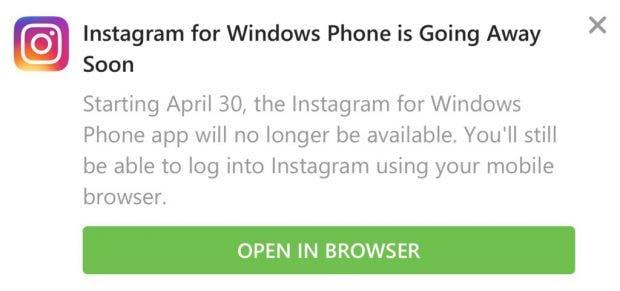 Instagram-Warnung auf Windows Phone