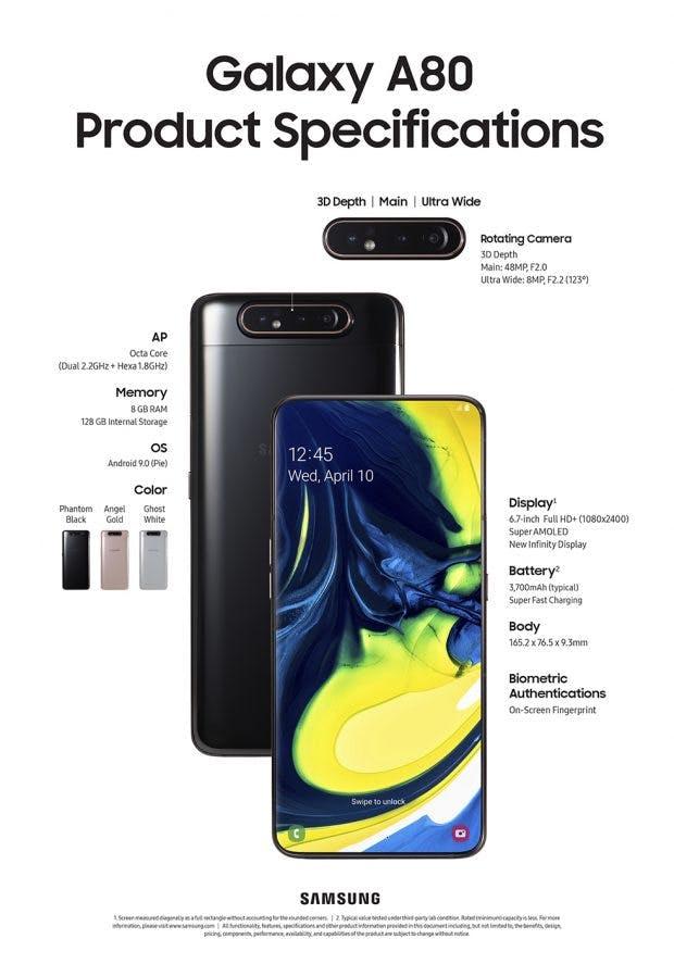 Samsung Galaxy A80 – die Spezifikationen im Überblick. (Bild: Samsung)