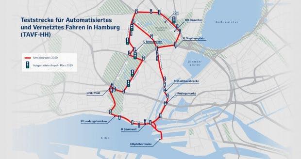 Die Teststrecke für autonomes Fahren in Hamburg. (Bild: VW)