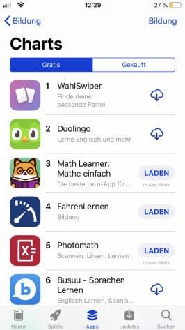 Die App Wahlswiper ist im App-Store auf Platz 1 der Kategorie Bildung. (Foto: t3n)