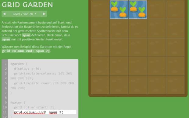 CSS-Grid-Garden im Einsatz