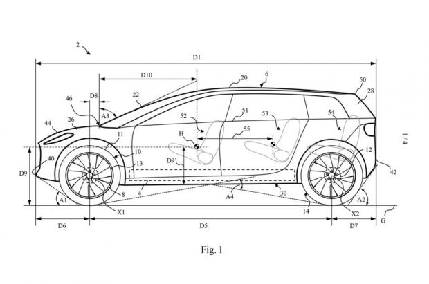 Designskizze des Dyson-Elektroautos