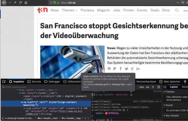 Hinweis im Firefox-Inspektor: warum wirkt diese Eigenschaft nicht?