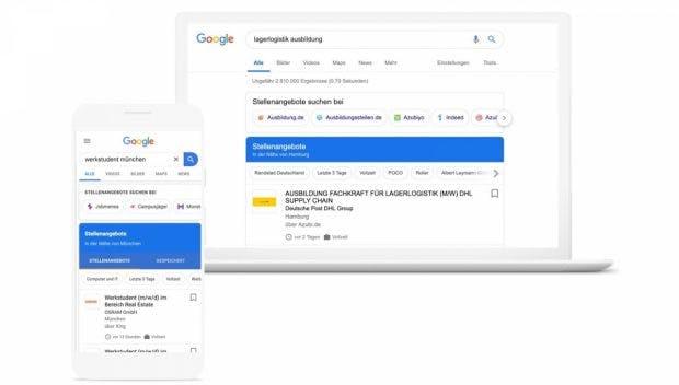 So sieht Googles Jobsuche aus, die jetzt auch in Deutschland gestartet ist. (Grafik: Google)