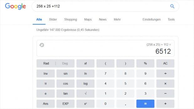 Rechnen mit Google Suche