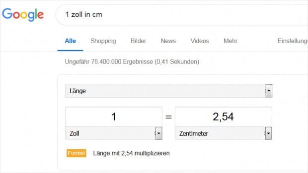 Mit Google Suche Einheiten umrechnen
