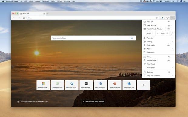 Die erste Vorabversion des Edge-Browsers für den Mac ist da. (Bild: Microsoft)