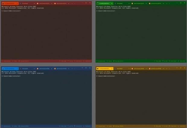 Das neue Windows Terminal unterstützt Themes und farbige Tabs. (Bild: Microsoft)