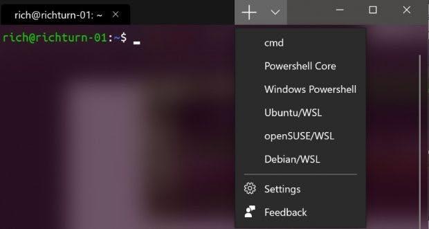Das Tab-Menü des neuen Windows- Terminals. (Bild: Microsoft)