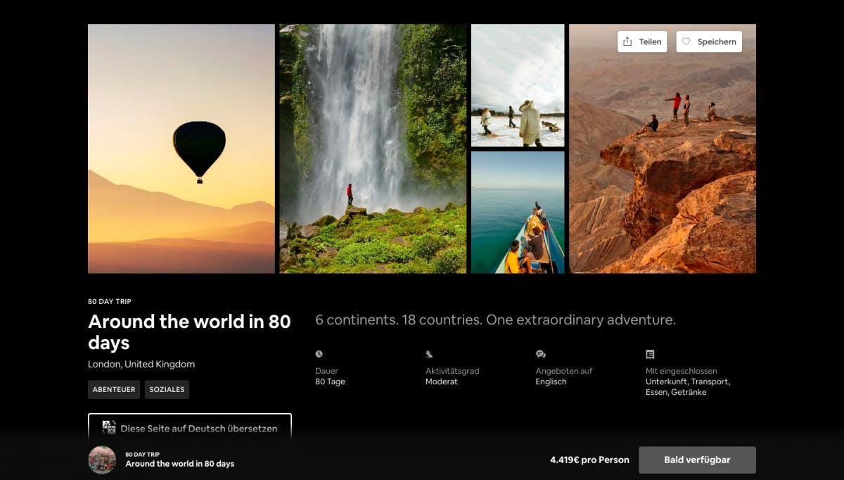 Abenteuer als Pauschalreise: Airbnb bietet 80-Tage-Weltreise an