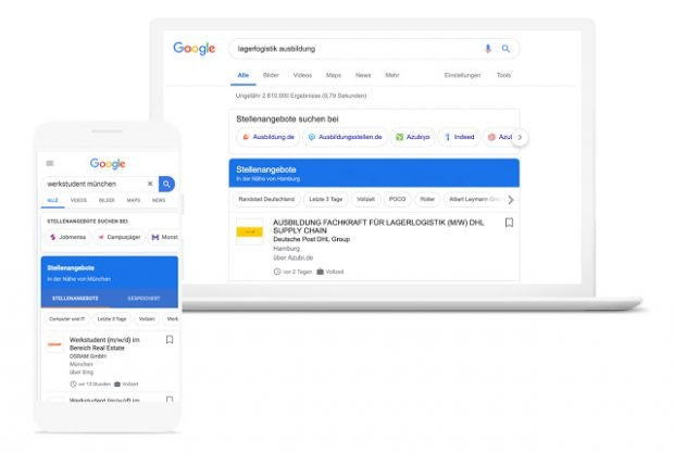 Google for Jobs Funktionen