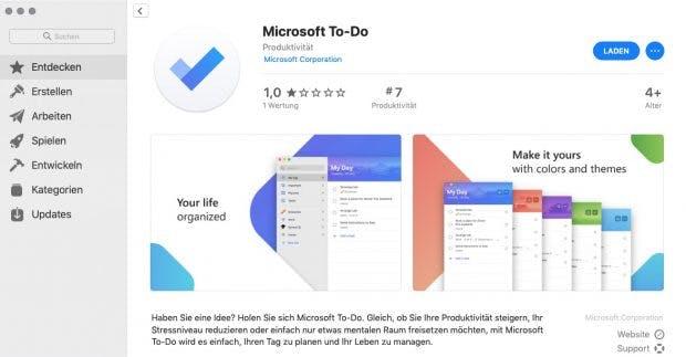 Microsofts To-Do im Mac-App-Store