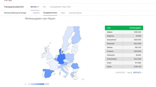 Google-Transparenzbericht lieferte falsche Zahl zu EU-Wahlkampf in Österreich