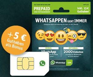 WhatsApp SIM mit fünf Euro Startguthaben