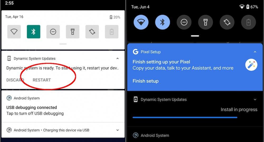 In der Android 10 Q Beta 4 versteckt sich die DSU-Funktion. (Bild: Google)