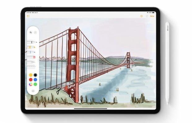 iPadOS mit neuen Bearbeitungswerkzeugen. (Bild: Apple)