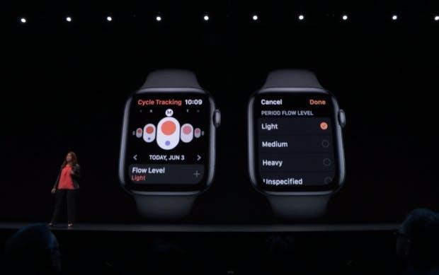 Apple-Managerin Sumbul Desai stellt die Zyklus-Trackerfunktion für watchOS und iOS vor. (Screenshot: t3n)