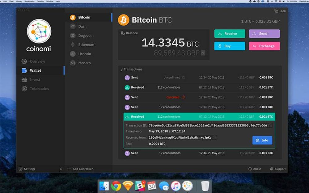 Screenshot: Coinomi Desktop