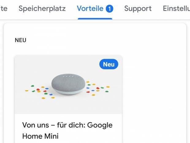Google-One-Kunden bekommen Home Mini geschenkt. (Bild: t3n)