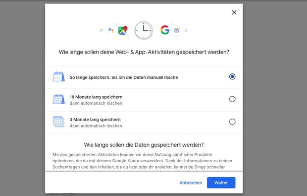 Google bringt automatisiertes Löschen der Standortdaten und Webaktivitäten. (Screenshot: t3n)