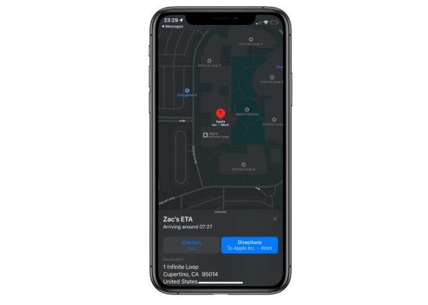 iOS 13.1: Apple Maps zeigt auf Wunsch euren Kontakten die erwartete Ankunftszeit an eurem Zielort an. (Screenshot: TNW)