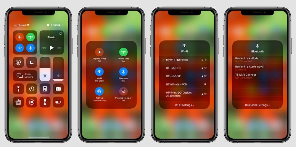 iOS 13: Schneller Zugriff auf WLAN und Bluetooth aus dem Kontrollzentrum. (Bild: 9to5 Mac)