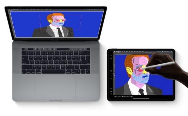 iPadOS Sidecar – das iPad lässt sich als externes Mac-Display nutzen. (Bild: APple)