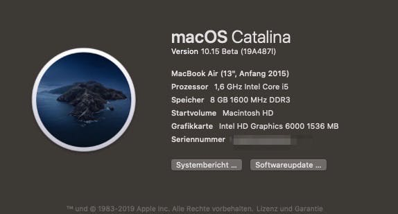 macOS 10.15 Catalina auf Macbook Air. (Bild: t3n)