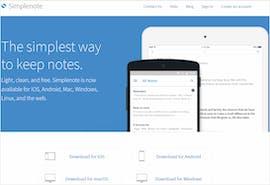 Screenshot: Website von Simplenote