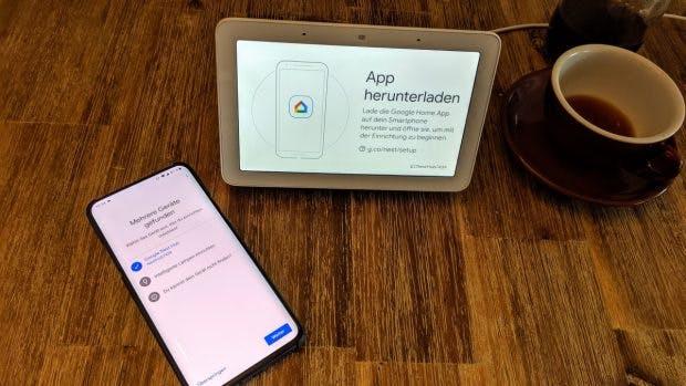 Smart-Display: Die Einrichtung erfolgt per Google-Home-App auf dem Smartphone. (Foto: t3n)
