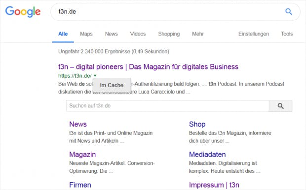 t3n.de in Suchergebnissen (Cache)