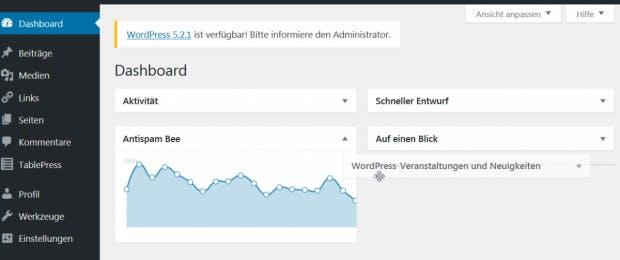 WordPress: Boxen auf dem Dashboard verschieben